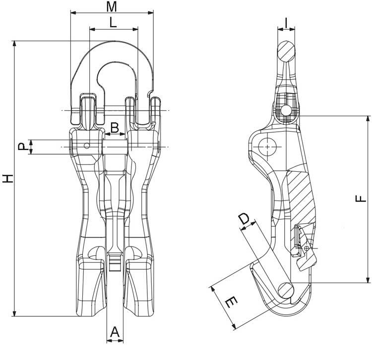 Verkürzungsklaue mit Kuppelanschluss und Sicherung